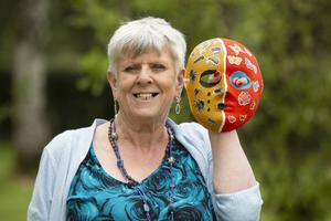 Janet taking part in crafts at National Lottery funded The Right Key, who use music and crafts as a method for recovery. They recently held a COVID themed workshop where the group had a different take on masks.