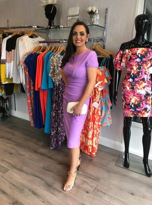 lilac cap sleeve ruched pencil dress £135, clutch £35
