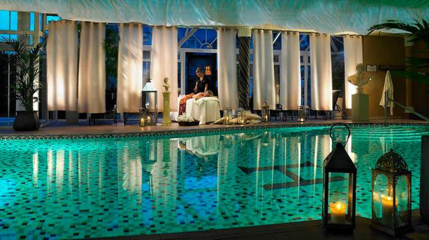 The swimming pool and spa