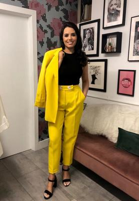 Blazer with rolled-up sleeves- canary yellow £48, High waist tailored trousers-canary yellow £35, round neck ribbed bodysuit-black £20