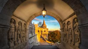 Budapest, Hungary - South entrance of Buda district at sunrise with autumn foliage and beautiful sky
