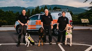 LIFESAVERS (from left): Raph O'Connor and Floss, Dr Neil Powell and Magnus, Michael McCamley and Bodhi
