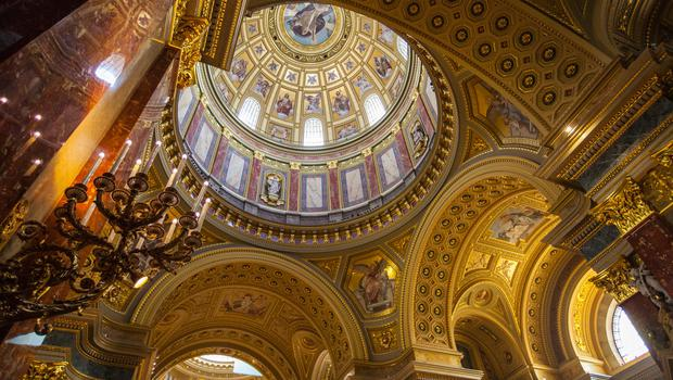 Inside the beautiful St. Stephens Basilica in Budapest, Hungary.
