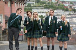 Derry Girls...l-r:  James Maguire (Dylan Llewellyn), Michelle Mallon (Jamie-Lee O'Donnell), Erin Quinn (Saoirse Jackson), Orla McCool (Louisa Harland), Clare Devlin (NIcola Coughlan),