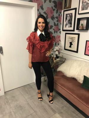 Scarlet whistle ruffle bow blouse- red £59