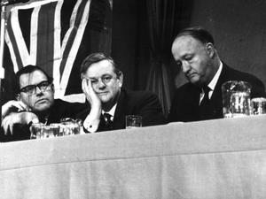 10th October 1963: Chancellor of the Exchequer, Reginald Maudling, (left), at the Conservative Party Conference at Blackpool, with Lord Hailsham (1907 - 2001, centre), and the deputy prime minister Richard A Butler. (Photo by Edward Miller/Keystone/Getty Images)
