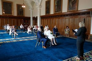 The wedding of Margaret McDowell and Stephen Scott at Belfast City Hall.