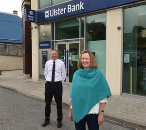 Aideen Hughes pictured with Mark Linton, branch manager of Ulster Bank at Culmore Road in Derry. Picture by Trevor McBride