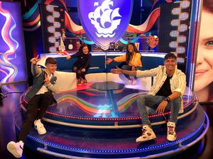 Adam B with fellow Blue Peter presenters Lindsey Russell, Richie Driss, and Mwaka Mudenda. Picture from BBC Blue Peter