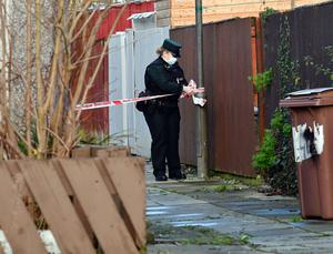 Police at the scene of the bomb blast in Craigavon