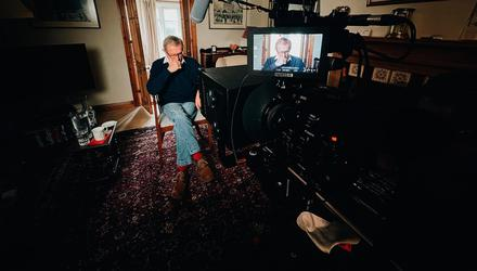 ONE MAN BAND: Peter Taylor records his latest documentary from his home