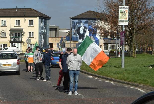 PROTEST: Christy O'Kane (front) in Derry yesterday
