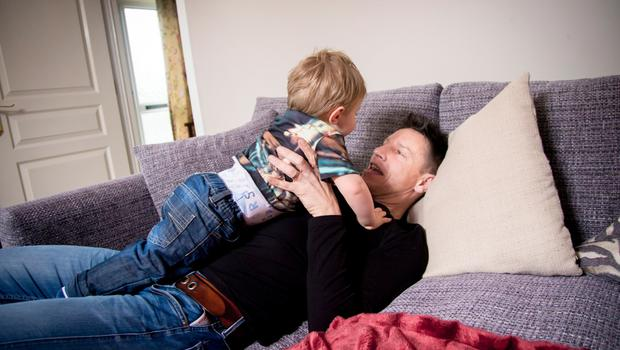 Pictured is Stephen Clements at home with his son Robbie in Carrickfergus on February 19, 2016  Carrickfergus , Northern Ireland ( Photo by Kevin Scott / Be