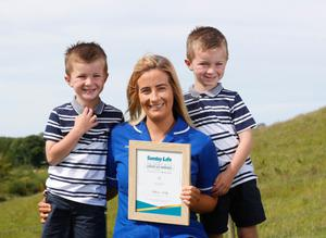 Spirit Of Northern Ireland Awards 2020 winner Ashlene Kelly from Moy with her twin sons Alfie and Joey aged five. Picture Colm O'Reilly Sunday Life 28-05-2020.