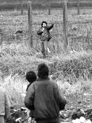 Michael Stone during the Milltown Cemetry attack in 1988