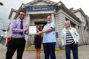 Katie Jones with Matthew Palmer, Larne Ulster Bank Branch Manager, with Katie's mother Alison Jones, and grandmother Margaret Harvey.