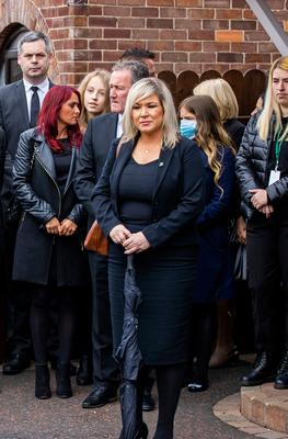 Deputy First Minister Michelle O'Neill during the funeral of senior Bobby Storey at St Agnes' Church in west Belfast.