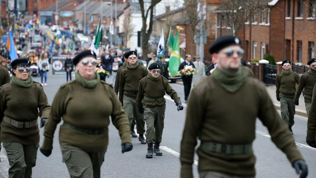Saoradh parade in west Belfast. General view of  the Saoradh parade, organised by dissident republicans on the Falls Road in west Belfast.