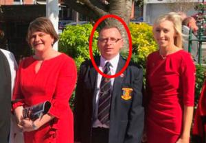 Loyalist weapons runner Alexander 'Lexi' Davidson with DUP politicians Arlene Foster and Carla Lockhart