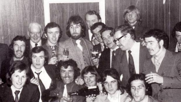 The party's in full swing after Crusaders win their first-ever League title in 1973. Liam Beckett in the back row, third from the left.