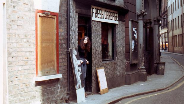 Geraldine Lynn at the original Fresh Garbage store in Bank Street, Belfast, during the 1970s.