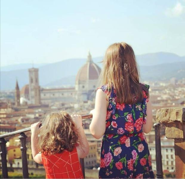 MAGNIFICENT: Lily-Belle and Matilda gaze out over beautiful Florence