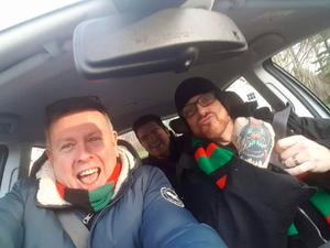 HERE WE GO: Sam Robinson and Ricky Warwick en route to a Glentoran game. The pair have collaborated on some 30 songs