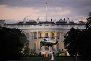 Donald Trump's helicopter lands at the White House