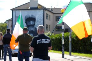 Republican protestors from Saoradh take part in an anti-internment white line picket in the Bogside area of Derry.  Picture by Jonathan Porter/PressEye