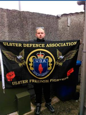 Alan Stewart UDA flags forsale to raise funds for the NHS.