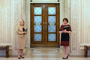 First minister Arlene Foster (right) and Deputy First Minister Michelle O'Neill. Photo: Liam McBurney/PA Wire