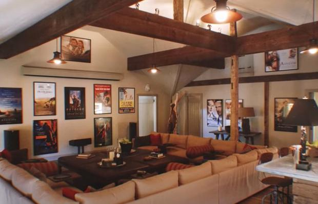 The movie room at Liam Neeson's luxurious New York estate