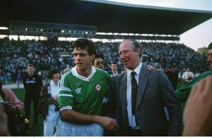 Rep of Ireland 5/11/1989 Dave O'Leary and Jack Charlton © INPHO
