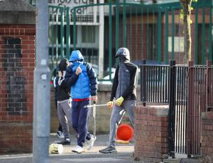 General view of the North Queen Street area of the New Lodge as disturbances broke out between the PSNI and Nationalist youths.  PSNI officers searched the area for petrol bombs and missiles.