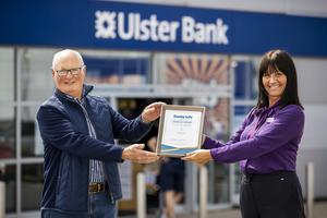 Spirit of Northern Ireland winner with Haydn Hassard and Ulster Bank Personal Banking Mandy Cudlip at Springhill Retail Park, Bangor Branch.