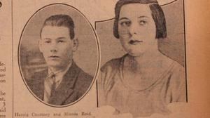 A newspaper report of Harold Courtney trial for the murder of Minnie Reid