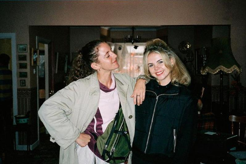 Louisa Harland and Saoirse-Monica Jackson on set earlier in the week