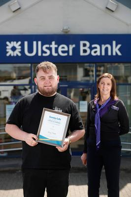 Spirit Of Northern Ireland Awards 2020 winner Harry Clarke with Glengormley Ulster Bank manager Lorna Foster. Picture Colm O'Reilly Sunday Life 28-05-2020