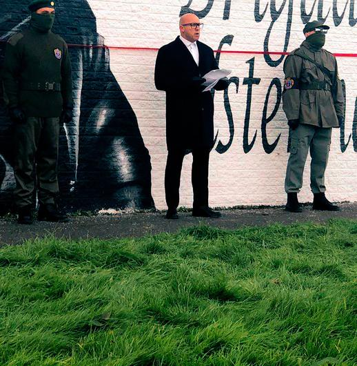 TIRADE: Dee Stitt at the launch of a mural in Bangor honouring 1970s UDA leader Tommy Herron