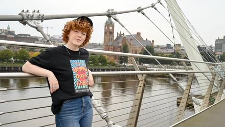 NORTHERN GIRL: Roe on the Peace Bridge in her native Derry city