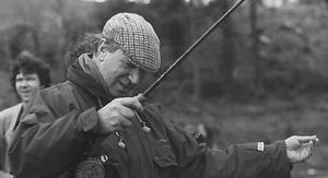 Jack Charlton at the opening fly fishing competition at Glenowen Fisheries, Creggan Reservoir May 1992