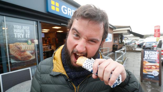 Sunday Life John Toner tries the Vegan sausage roll from greggs. Picture Colm O'Reilly Sunday Life 22-01-2020