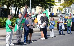 Republican protestors from Saoradh take part in an anti-internment white line picket in the Bogside area of Derry. Anti internment protests have taken place in towns across Northern Ireland on the anniversary of internment when mass arrest and internment was introduced in 1971.