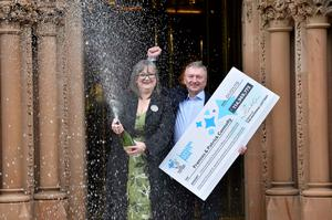 Frances and Patrick Connolly from Moira in Northern Ireland celebrate becoming the fourth biggest National Lottery winners ever after scooping an incredible £114,969,775.70 EuroMillions jackpot