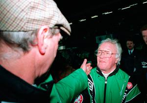 Jack Charlton and Billy Bingham shake hands after the infamous game at Windsor park which finished 1-0 to the Republic.