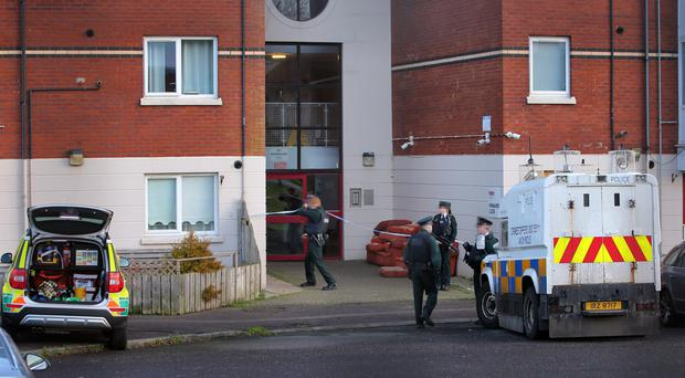 Pacemaker Press 23/12/2019 Police at the scene of a serious incident in North Belfast. A rapid response paramedic and one officer went to the scene at Kinnaird Close off Duncairn Avenue on Monday. Pic Pacemaker Press