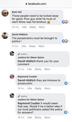 Facebook message from DUP MLA David Hilditch in reference to Glenn Quinn