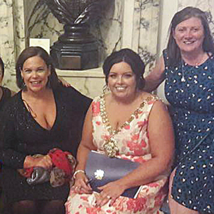(L-R) Shauneen Baker, Sinn Fein leader Mary Lou McDonald, Belfast Lord Mayor Deirdre Hargey and convicted IRA killer Mary McArdle.