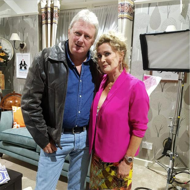 Beverley Callard and Charlie Lawson on Coronation Street set