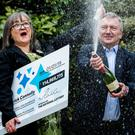 Euromillions winners...Frances Connolly, 52, and Patrick Connolly, 54, from Moira scooped a £115 million EuroMillions jackpot in the New Year's Day lottery draw. Pic: Liam McBurney/PA Wire